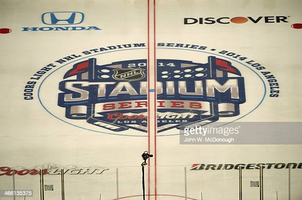 NHL Stadium Series Aerial view of 2014 Stadium Series logo on center ice during practice the day before Los Angeles Kings vs Anaheim Ducks game at...