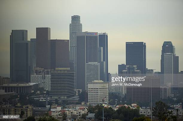 NHL Stadium Series Scenic view of Los Angeles skyline during practice the day before Los Angeles Kings vs Anaheim Ducks game at Dodger Stadium Los...