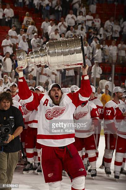 NHL Stanley Cup Finals Detroit Red Wings Henrik Zetterberg with Stanley Cup celebrates Game 6 win vs Pittsburgh Penguins Pittsburgh PA 6/4/2008...