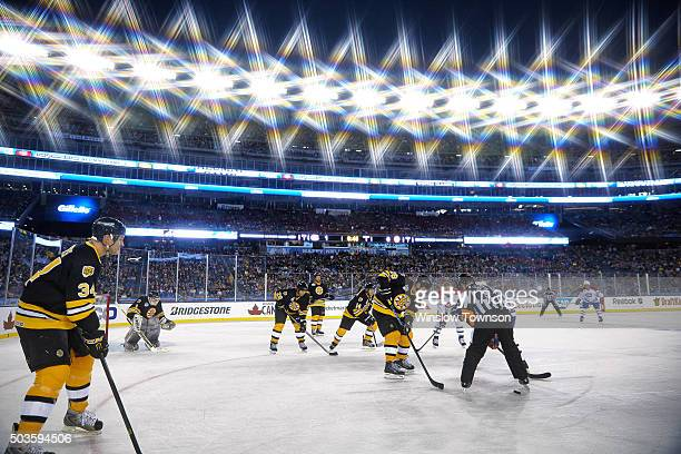NHL Winter Classic Alumni Game Boston Bruins former player Mark Recchi in action face off vs Montreal Canadiens alumni at Gillette Stadium Foxborough...
