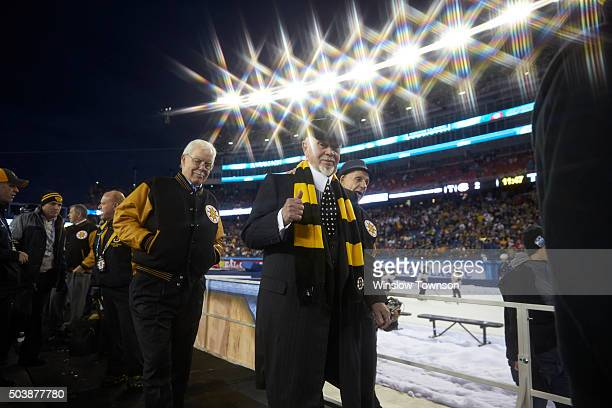 Winter Classic Alumni Game: Former Boston Bruins coach Don Cherry and former player Derek Sanderson during introduction before game vs Montreal...