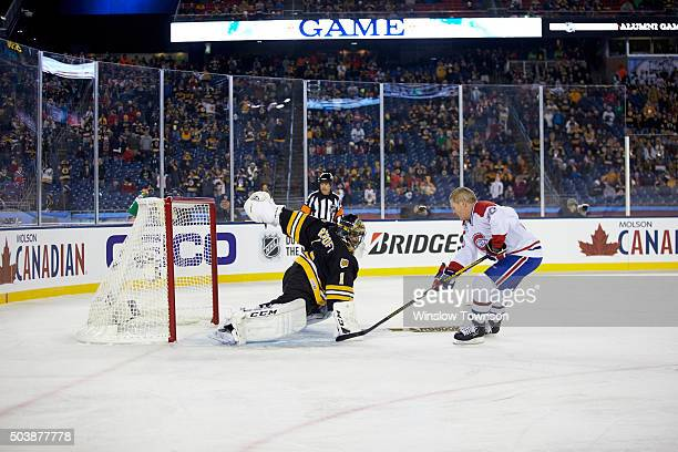NHL Winter Classic Alumni Game Montreal Canadiens former player Chris Nilan in action vs Boston Bruins former goalie Andrew Raycroft at Gillette...