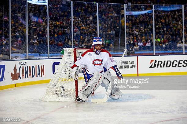 NHL Winter Classic Alumni Game Montreal Canadiens former goalie Jose Theodore in action vs Boston Bruins alumni at Gillette Stadium Foxborough MA...
