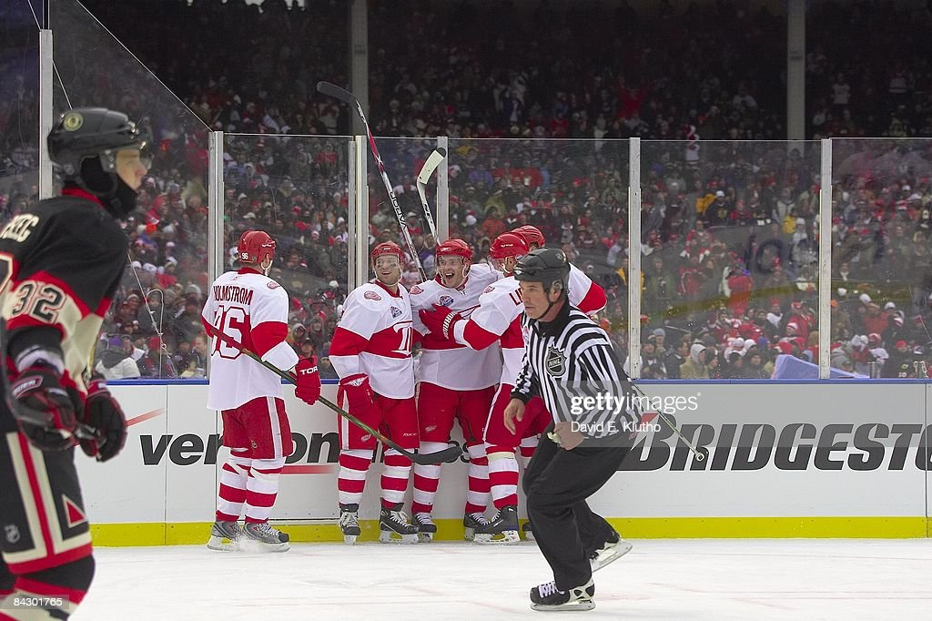 Detroit Red Wings Brian Rafalski and Pavel Datsyuk victorious during ... 2ea132ac3