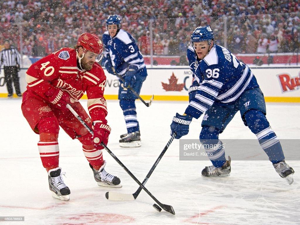 Detroit Red Wings Henrik Zetterberg (40) in action vs Toronto Maple Leafs  Carl Gunnarsson 5a246f89e