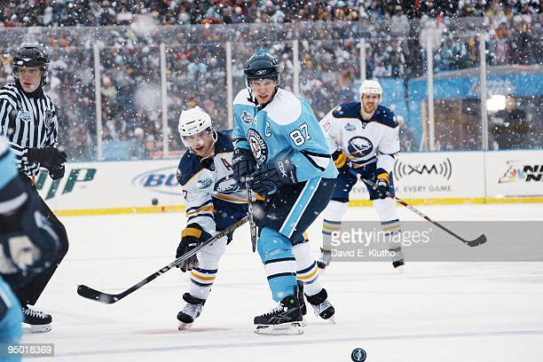 Winter Classic: Pittsburgh Penguins Sidney Crosby in action vs Buffalo Sabres Jason Pominville . Orchard Park, NY 1/1/2008 CREDIT: David E. Klutho