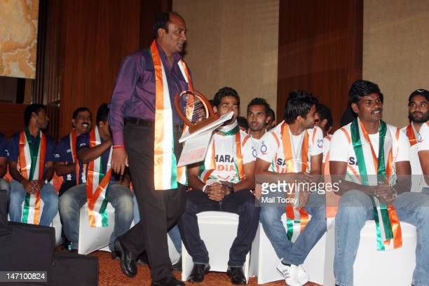 Hockey Olympian Mohammad Shahid during a ceremony to felicitate former hockey players who have won gold medals in the Olympics and wish Indian Hockey...