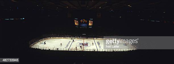 Panoramic view of New York Rangers vs Montreal Canadiens game during 2nd period at Madison Square Garden New York NY CREDIT Neil Leifer