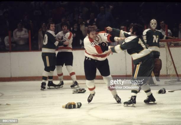 Philadelphia Flyers Andre Dupont during fight vs Minnesota North Stars JeanPaul Parise Philadelphia PA 3/28/1973 CREDIT Melchior DiGiacomo