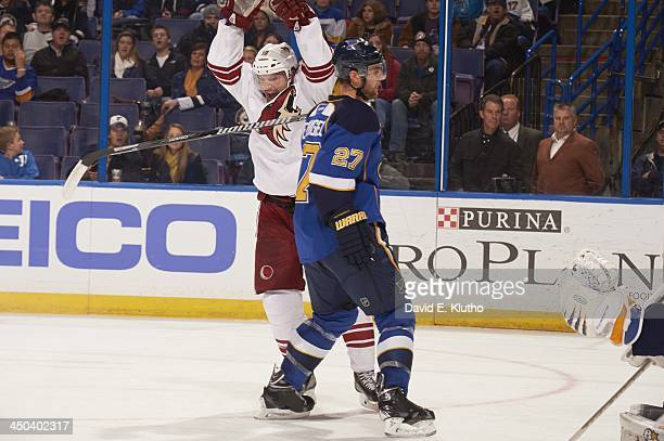 Phoenix Coyotes Shane Doan victorious during game vs St Louis Blues at Scottrade Center St Louis MO CREDIT David E Klutho