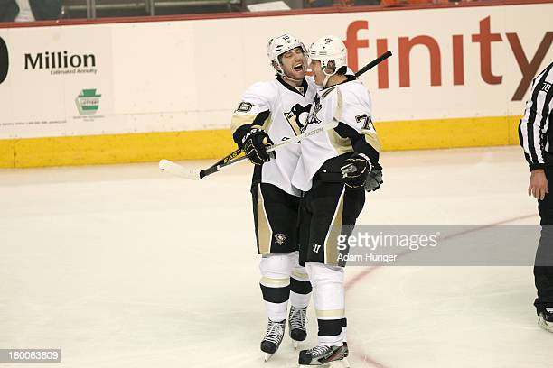 Pittsburgh Penguins James Neal victorious after scoring goal with Evgeni Malkin during game vs Philadelphia Flyers at Wells Fargo Center Philadelphia...