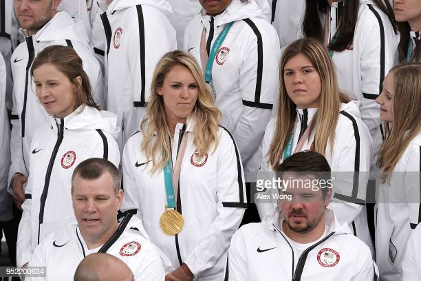 Hockey player Amanda Kessel attends an event that US President Donald Trump hosts for Team USA at the North Portico of the White House April 27 2018...