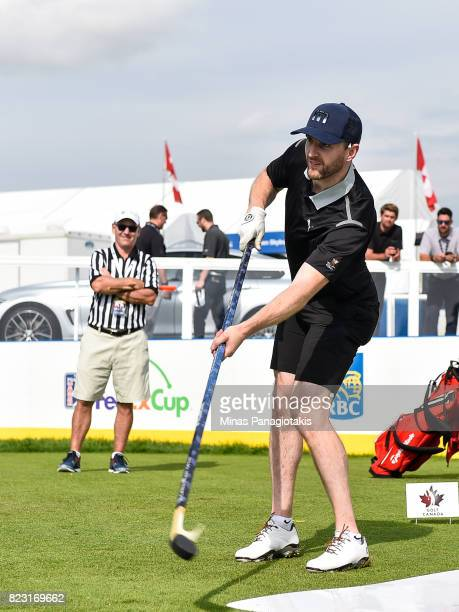 NHL hockey player Andrew MacDonald of the Philadelphia Flyers plays hockey during the championship proam of the RBC Canadian Open at Glen Abbey Golf...