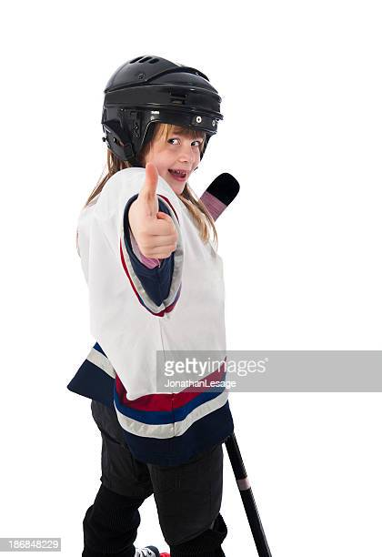hockey player girl happy winner children
