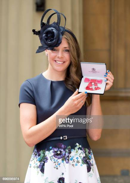 Hockey player Giselle Ansley after she was awarded an MBE by the Prince of Wales during an Investiture ceremony at Buckingham Palace on June 16 2017...