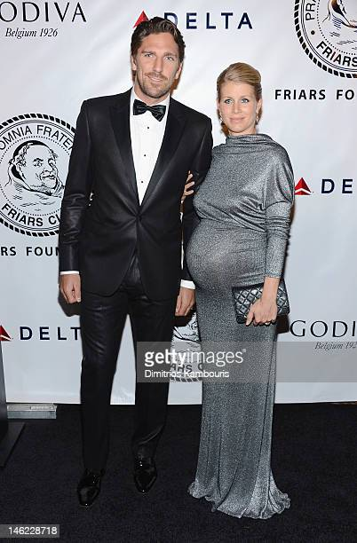 Hockey player Henrik Lundqvist and Therese Anderson attend The Friars Club and Friars Foundation Honor of Tom Cruise at The Waldorf=Astoria on June...