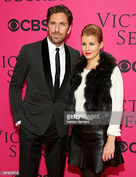 Hockey player Henrik Lundqvist and Therese Andersson attend the 2013 Victoria's Secret Fashion Show at Lexington Avenue Armory on November 13 2013 in...