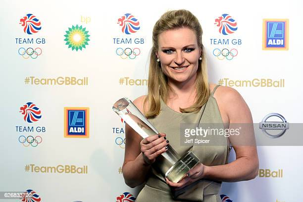 Hockey player Hollie Webb accepts the BBC Moment of the Games Award on behalf of the Team GB Women's Hockey Team during the Team GB Ball at Battersea...