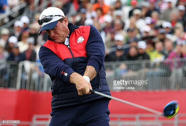 Hockey player Jeremy Roenick hits off the first tee during the 2016 Ryder Cup Celebrity Matches at Hazeltine National Golf Club on September 27 2016...