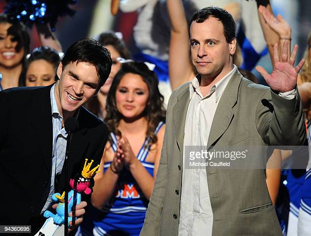 Hockey player Luc Robitaille and Dave Littman speak onstage at Spike TV's 7th Annual Video Game Awards at the Nokia Event Deck at LA Live on December...