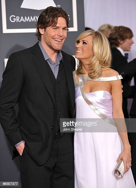 Hockey player Mike Fisher and singer Carrie Underwood arrive at the 52nd Annual GRAMMY Awards held at Staples Center on January 31 2010 in Los...