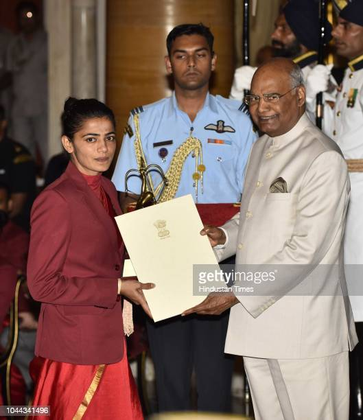 Hockey Player Savita receives Arjuna Award 2018 for her achievements in shooting from President Ram Nath Kovind at National Sports and Adventure...