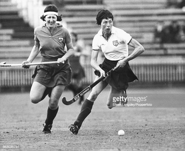 Hockey player Val Robinson playing for England during a Women's hockey international against Scotland circa 1982