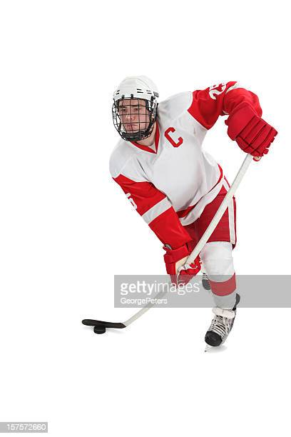 hockey player with clipping path - hockey stick stock pictures, royalty-free photos & images