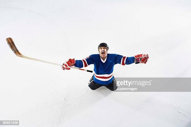 Hockey player yelling