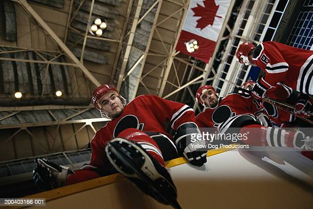 hockey players climbing onto ice, low angle view - ice hockey rink stock pictures, royalty-free photos & images