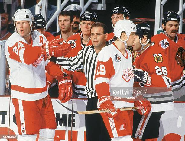 Hockey playoffs Detroit Red Wings Bob Probert upset during game vs Chicago Blackhawks Detroit MI 5/2/1992