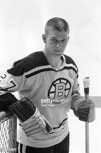 Portrait of Boston Bruins Bobby Orr during photo shoot before preseason exhibition game at Hamilton Forum Orr's rookie season Hamilton Canada...