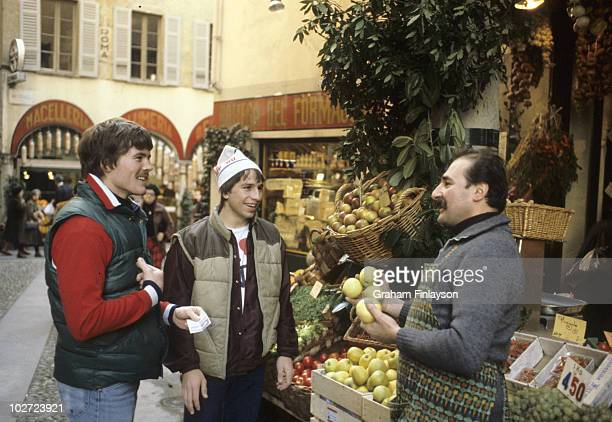Portrait of former USA players John Harrington and Mark Pavelich at street market They are teammates in Swiss League Lugano Switzerland CREDIT Graham...
