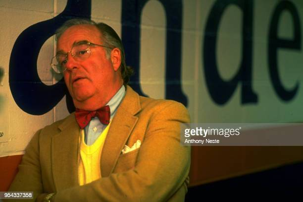 Portrait of New York Islanders general manager Bill Torrey in runway before game vs Buffalo Sabres at Nassau Veterans Memorial Coliseum Uniondale NY...
