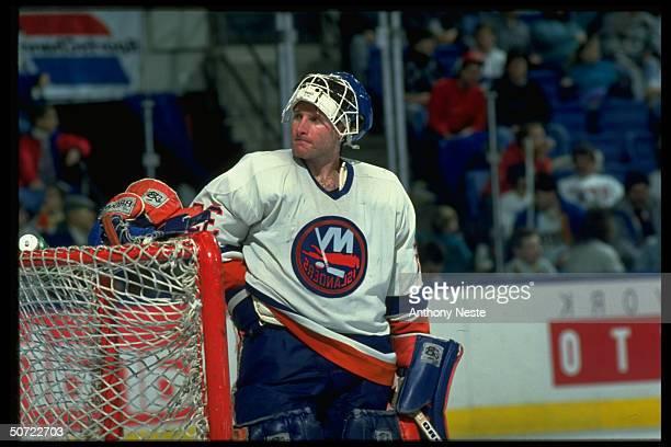 Portrait of NY Islanders Glenn Healy alone during game vs Buffalo Sabres.