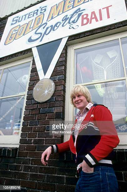 Portrait of USA Bob Suter posing outside his Gold Medal Sports Bait sporting goods store Member of 1980 US Olympic Miracle on Ice Hockey Team Madison...