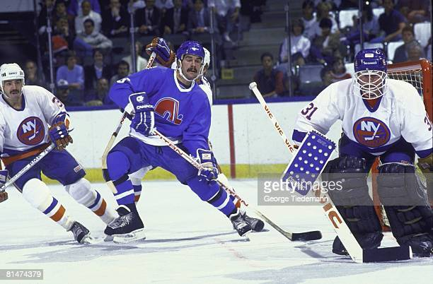 Hockey Quebec Nordiques Michel Goulet in action vs New York Islanders Uniondale NY