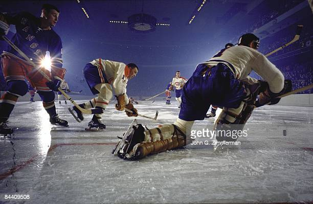 Rear view of Montreal Canadiens goalie Jacques Plante in action vs New York Rangers New York NY CREDIT John G Zimmerman