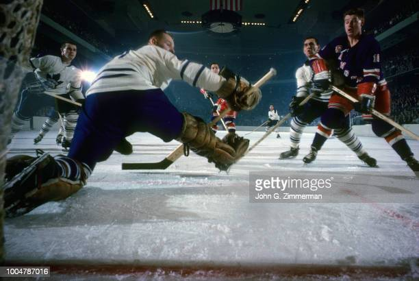 Rear view of Toronto Maple Leafs goalie Johnny Bower in action vs New York Rangers at Madison Square Garden New York NY CREDIT John G Zimmerman