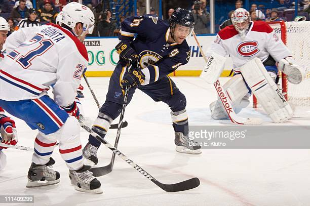 St Louis Blues goalie Andy McDonald in action vs Montreal Canadiens Brian Gionta at Scottrade CenterSt Louis MO 3/10/2011CREDIT David E Klutho