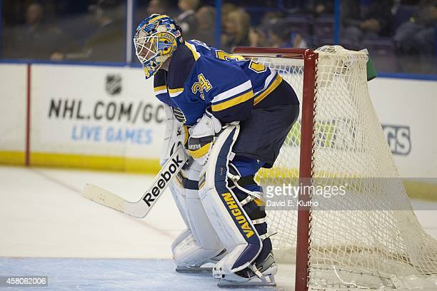 St Louis Blues goalie Jake Allen during game vs Vancouver Canucks at Scottrade Center St Louis MO CREDIT David E Klutho