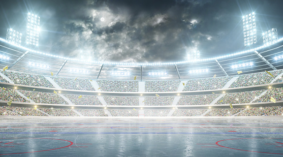 Hockey stadium. Ice hockey arena. Night stadium under the moon with lights, fans and flags 1126239451