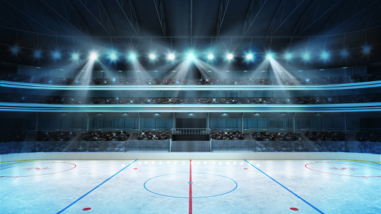 hockey stadium with fans crowd and an empty ice rink 863815764
