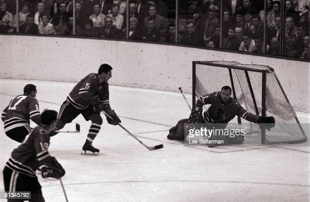 Hockey Stanley Cup Finals Chicago Blackhawks goalie Glenn Hall in action vs Montreal Canadiens Chicago IL 4/29/1965