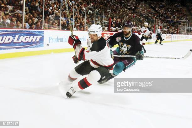 Hockey Stanley Cup finals New Jersey Devils Scott Stevens in action vs Anaheim Mighty Ducks Rob Niedermayer East Rutherford NJ 5/27/2003