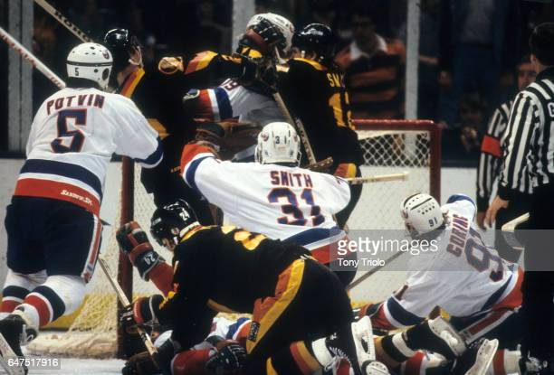 Stanley Cup Finals New York Islanders goalie Billy Smith in action vs Vancouver Canucks during Game 2 at Nassau Coliseum Uniondale NY CREDIT Tony...