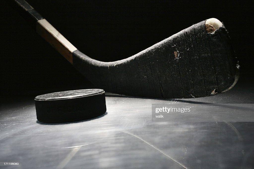 Hockey Stick & Puck : Stock Photo