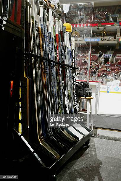 Hockey sticks are shown before the Philadelphia Flyers game against the Pittsburgh Penguins at Wachovia Center on January 13 2007 in Philadelphia...