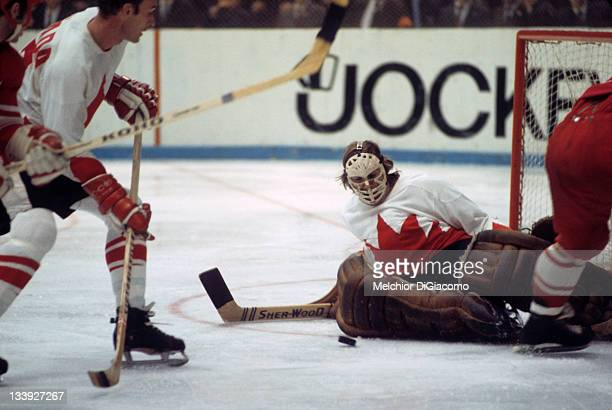 The Summit Series Canada goalie Ken Dryden in action vs Soviet Union at Luzhniki Ice Palace Game 5 Moscow Russia 9/22/1972 CREDIT Melchior DiGiacomo