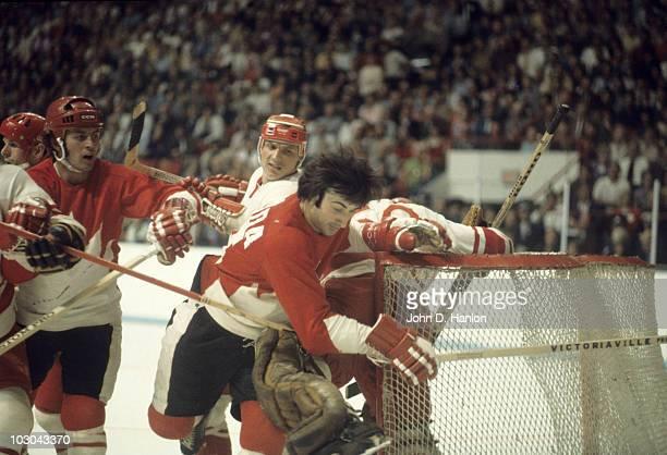 The Summit Series Canada Guy Lapointe in action vs USSR goalie Vladislav Tretiak at Winnipeg Arena Game 3 Winnipeg Canada 9/6/1972 CREDIT John D...